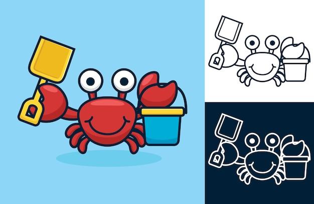 Grappige rode krab met schop en emmer. cartoon afbeelding in platte pictogramstijl