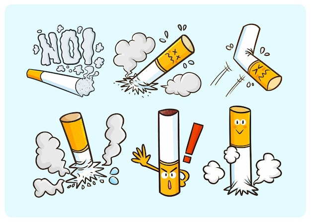 Grappige rookvrije sigarettencollectie in doodle stijl