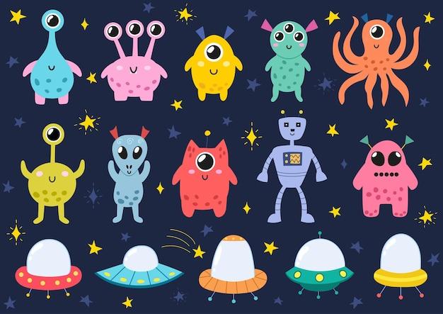 Grappige ruimtemonsters geplaatst aliens en ruimteschepen geïsoleerd
