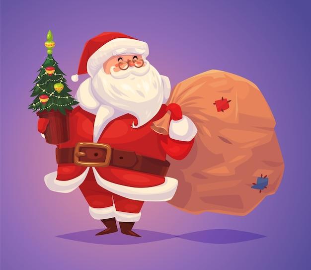 Grappige santa met zak cadeautjes en kerstboom. kerst wenskaart achtergrond poster. vector illustratie. vrolijk kerstfeest en een gelukkig nieuwjaar.