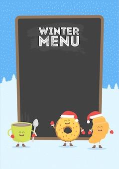 Grappige schattige fastfood koffie, croissant en donut getekend met een glimlach, ogen en handen. kerst en nieuwjaar winter stijl. gekleed in kerstmuts en warme handschoenen.