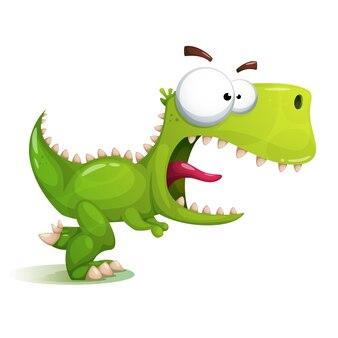 Grappige, schattige, gekke dinosaurusillustratie.