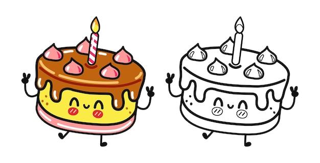 Grappige schattige gelukkige cake-personagesbundelset