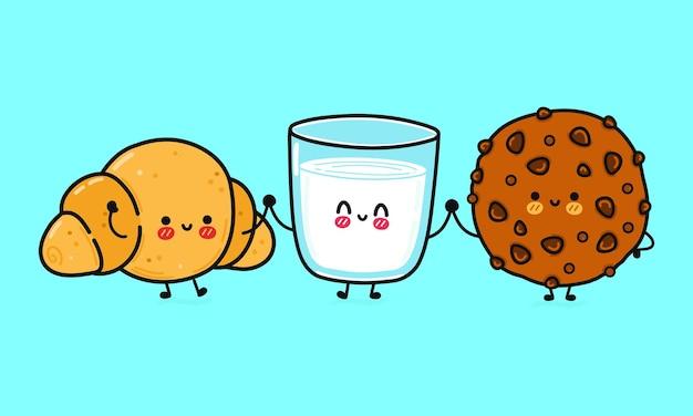 Grappige schattige gelukkige chocoladekoekjes glas melk en croissant karakters bundel set