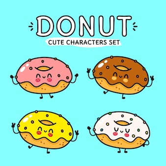 Grappige schattige gelukkige donut-personagesbundelset