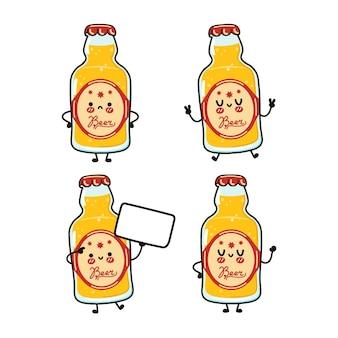Grappige schattige gelukkige fles bierkarakters bundelset
