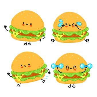 Grappige schattige gelukkige hamburger stripfiguren bundel set