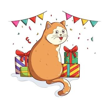 Grappige schattige kat op verjaardagsfeestje met doodle-stijl
