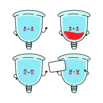 Grappige schattige vrolijke blauwe menstruatiecup karakters bundelset