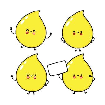 Grappige schattige vrolijke druppel urine karakters bundelset