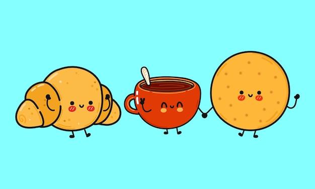 Grappige schattige vrolijke koekjes kopje koffie en croissant karakters bundel set