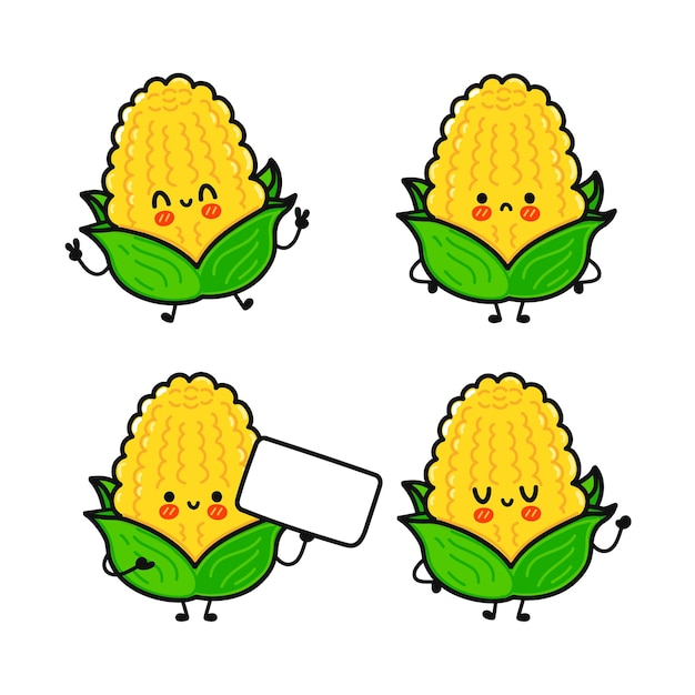 Grappige schattige vrolijke maïskarakters bundelset