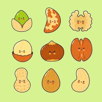 Grappige schattige vrolijke nuts-personagesbundelset
