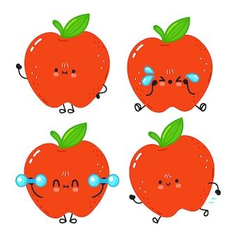 Grappige schattige vrolijke rode appel tekens bundel set. vectorillustratie kawaii lijn cartoon stijl. schattige planeet appel mascotte karakter collectie
