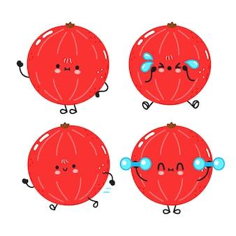 Grappige schattige vrolijke rode bessen karakters bundel set