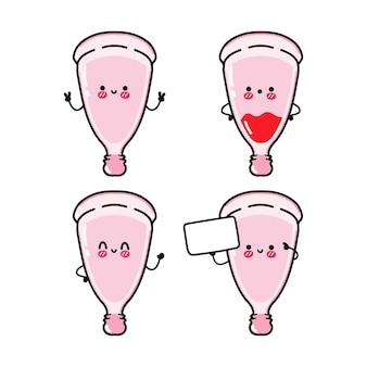 Grappige schattige vrolijke roze menstruatiecup karakters bundelset