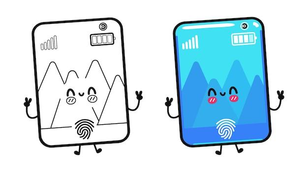 Grappige schattige vrolijke smartphonekarakters voor het kleuren van een boek