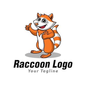 Grappige schattige wasbeer logo sjabloon