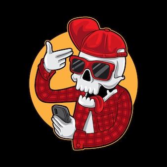 Grappige schedel gangster selfie