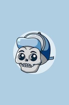 Grappige schedel met hoed illustratie