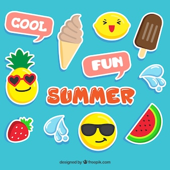 Grappige set zomer stickers