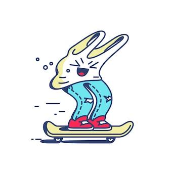 Grappige skater. shirt en spijkerbroek op skateboard.