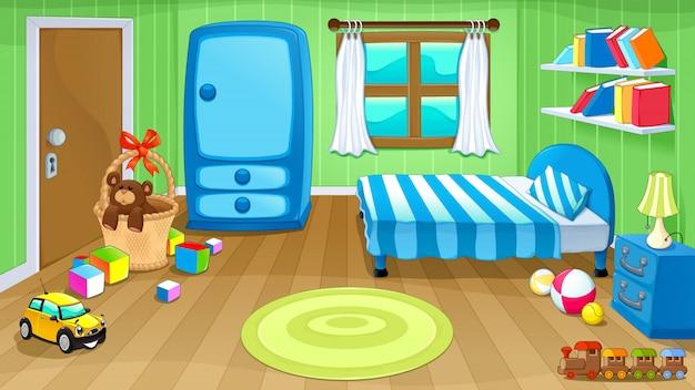 Grappige slaapkamer met speelgoed