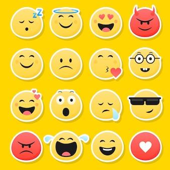 Grappige smileygezichten met verschillende uitdrukkingen. vector illustratie