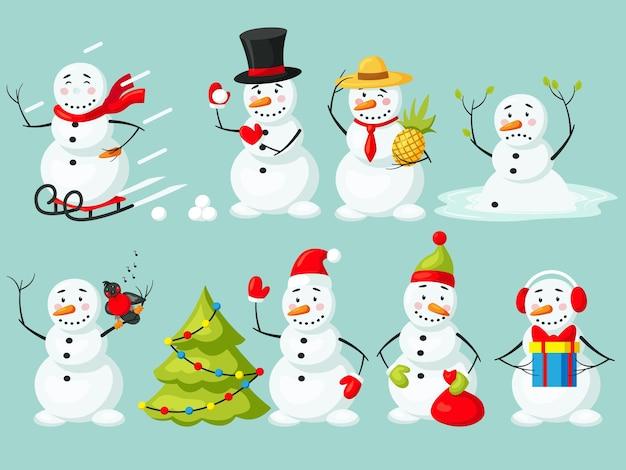 Grappige sneeuwpop kerst tekenset geïsoleerd