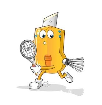 Grappige snijder die badmintonillustratie speelt