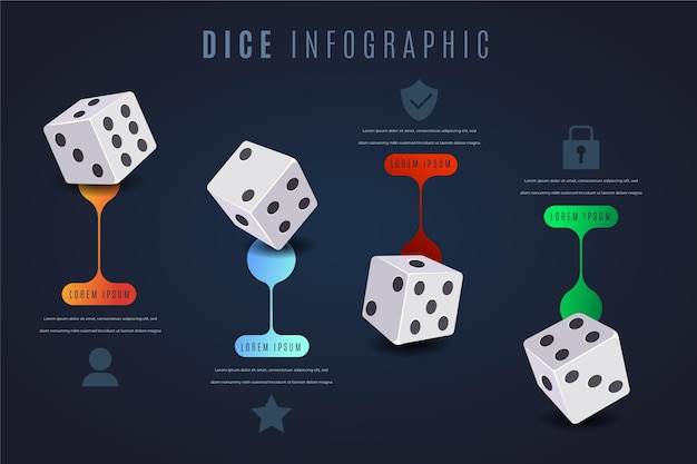 Grappige statistische dobbelstenen infographic sjabloon