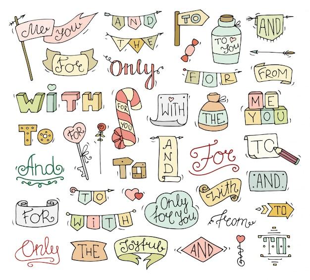 Grappige steekwoorden ingesteld voor romantisch ontwerp