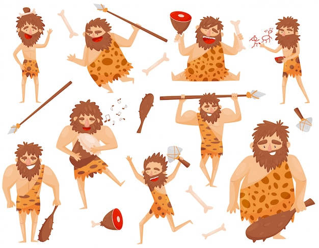 Grappige steentijd prehistorische man in verschillende situaties ingesteld, primitieve holbewoners stripfiguur illustratie geïsoleerd op een witte achtergrond