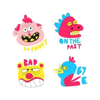 Grappige sticker collectie hand getrokken