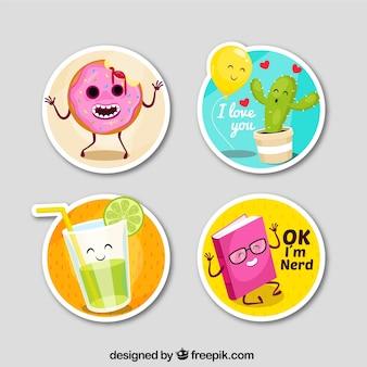 Grappige stickers met cirkelvormig ontwerp