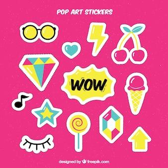 Grappige stickers met pop art stijl