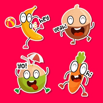 Grappige stickerscollectie van heerlijke snacks