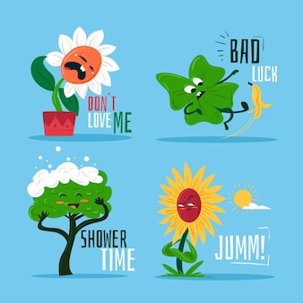 Grappige stickerscollectie van natuurplanten