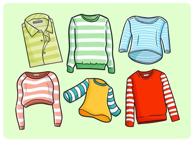 Grappige strepen kledingcollectie in kawaii doodle-stijl