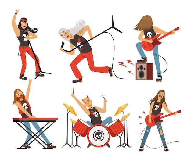 Grappige stripfiguren in rockband. muzikant in beroemde popgroep.