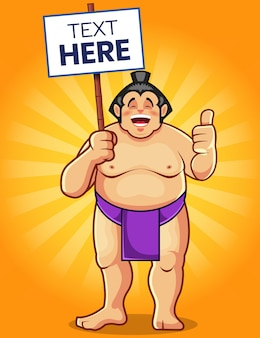 Grappige sumo cartoon mascotte houden een tekst-teken