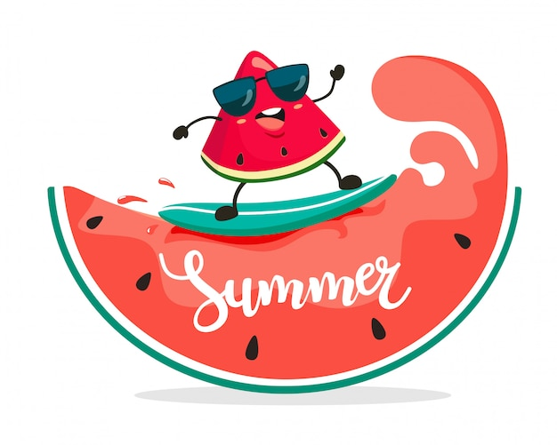 Grappige surfer watermeloen segment rijdt op watermeloen golven. zomer illustratie