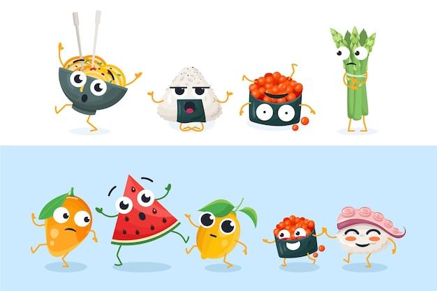 Grappige sushi en fruitkarakters - reeks geïsoleerde vectorillustraties op witte en blauwe achtergrond. hoogwaardige verzameling cartoon-emoticons met verschillende emoties, gezichtsuitdrukkingen