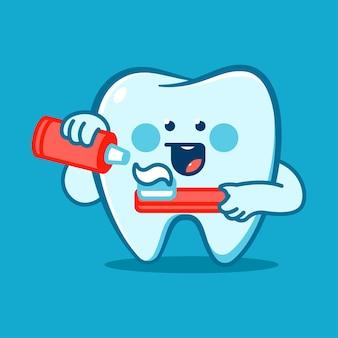 Grappige tand met tandenborstel en plak vector stripfiguur geïsoleerd op de achtergrond.