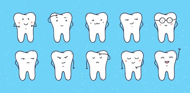 Grappige tanden pictogrammen, set van doodle stripfiguren.