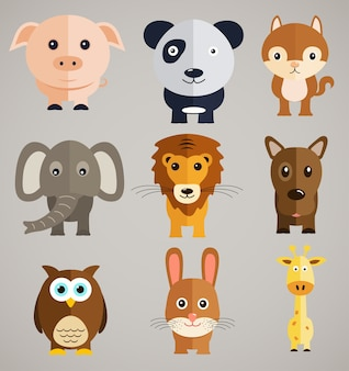 Grappige tekenfilm dieren.
