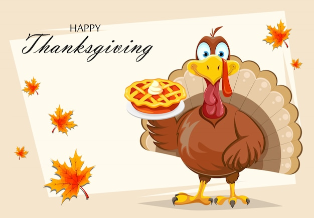 Grappige thanksgiving turkije vogel bedrijf pompoentaart