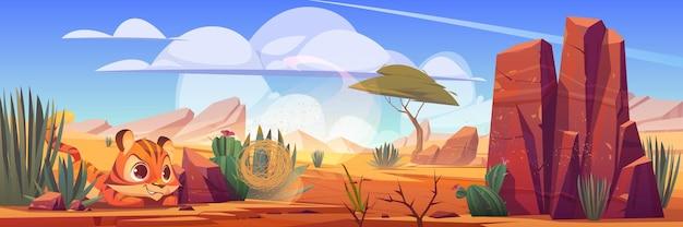 Grappige tijgerwelp spelen met tumbleweed in woestijn