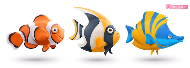 Grappige tropische vissen 3d-set