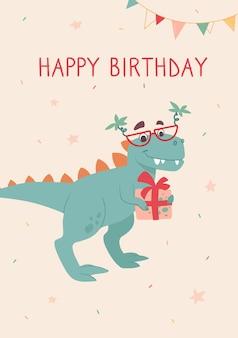Grappige tyrannosaurus rex op een verjaardagskaart